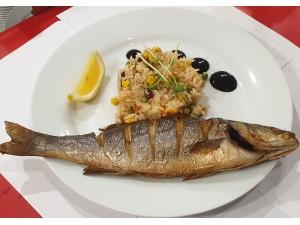 Рыба Сибас с ризотто